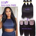 7A Hot Silk Base Closure With bundles  Hair Products With Closure Peruvian Straight Hair Bundles With Silk Base Closure