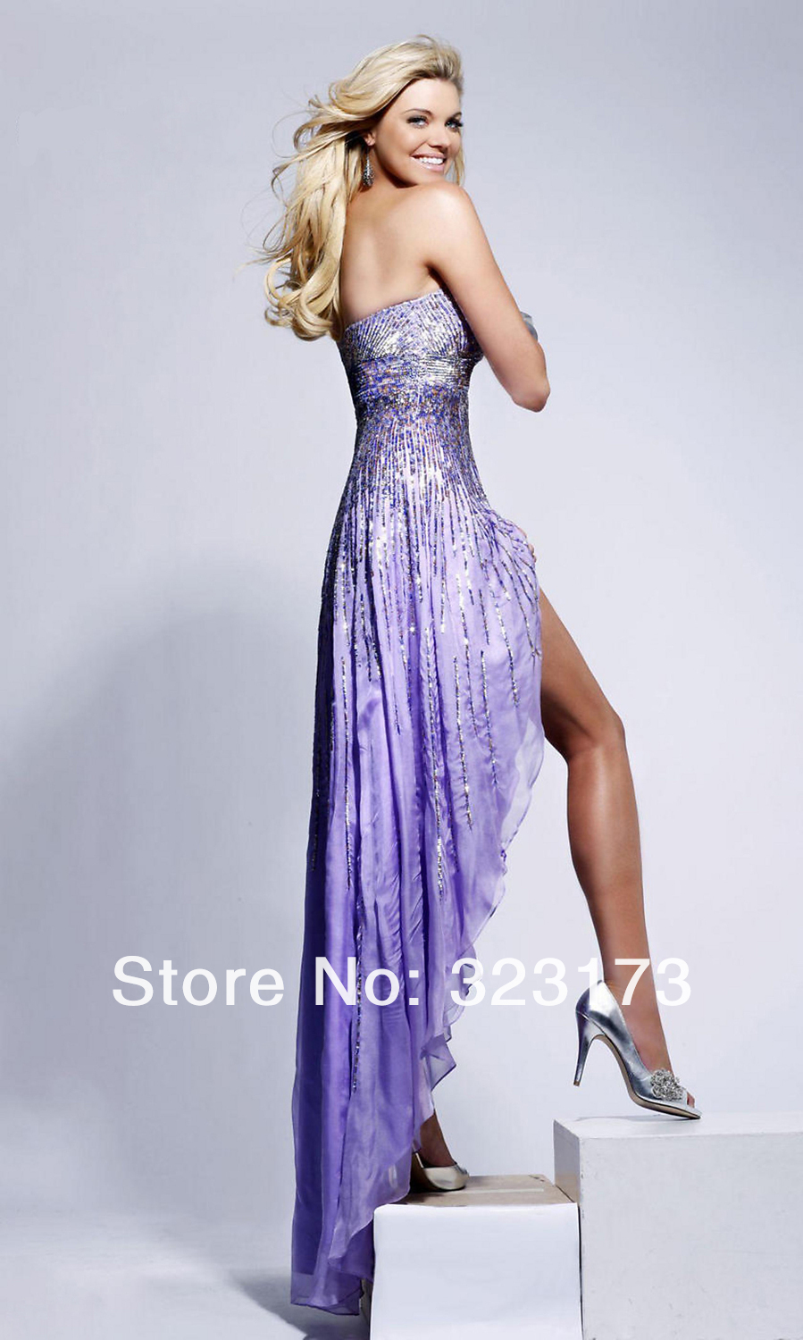 White Lavender Royal Blue Bling Sequin Prom Dress High Low Hem.  PromGirl-549214309.jpg PromGirl-549214310.jpg ... 3f3d449e8b65