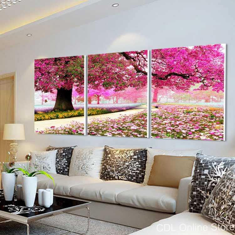 Oriental cherry Sakura canvas painting modern wall art for home ...