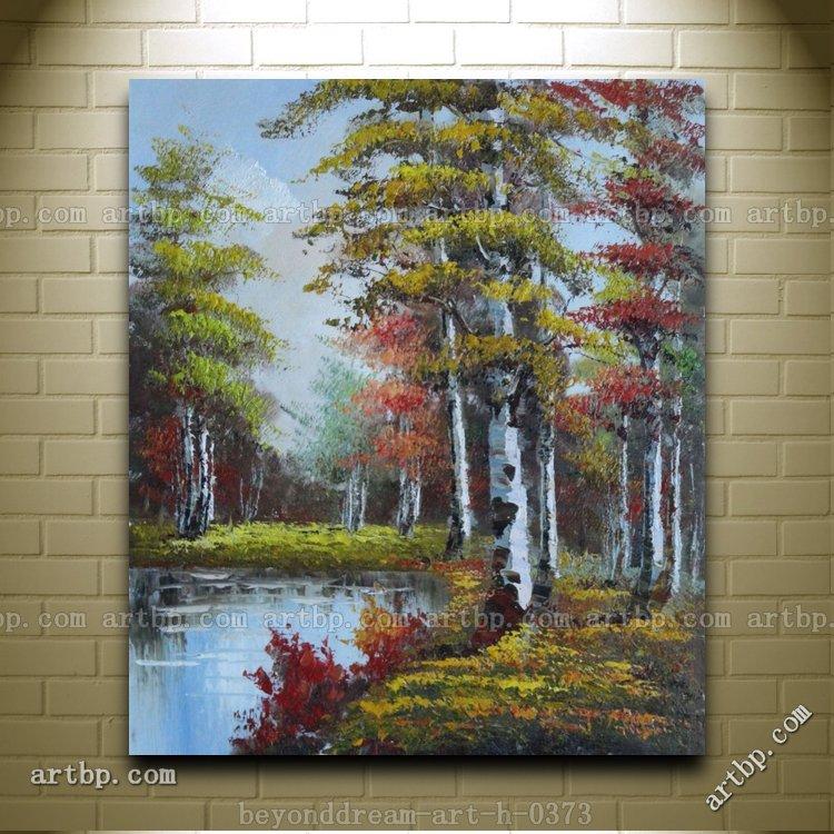 Top Paisagem de outono com árvores e pintura a óleo naturalismo  AN48