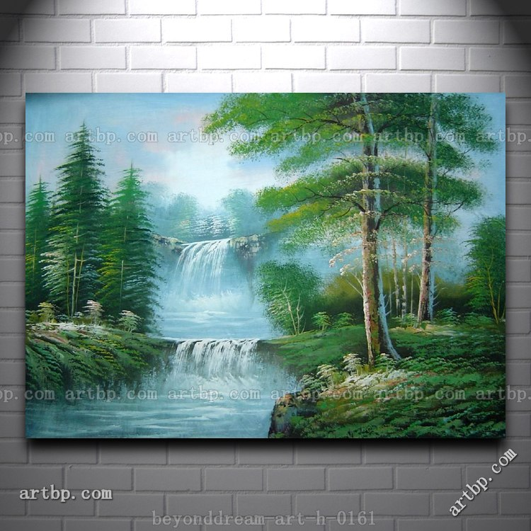Waterfall In Forest Nature Scenery Oil Painting Naturalism Landscape Asian Wall Art Canvas Black White Free Ship Calligraphy From