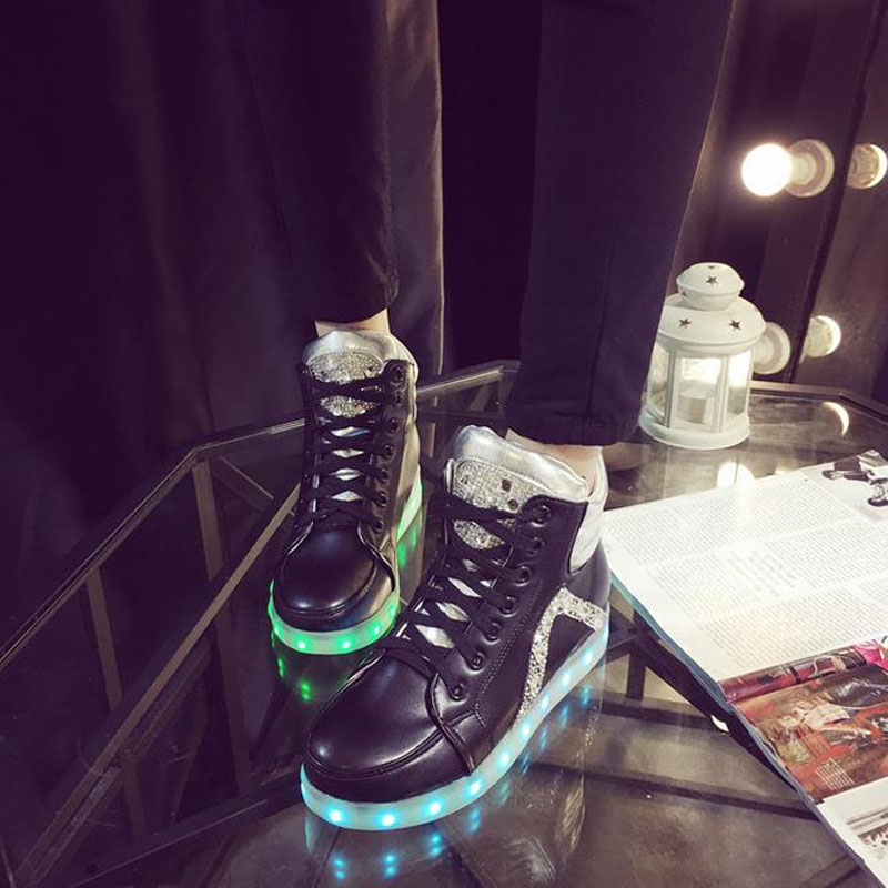 2016 High quality 7-color LED luminous women high top casual shoes LED shoes for adults USB charging lights black white shoes от Aliexpress INT