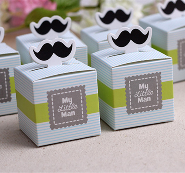 100pcs Cute Mustache Birthday Boy Baby Shower Favors Kids Party Decorations  Baby Christening Baptism Gifts Souvenirs