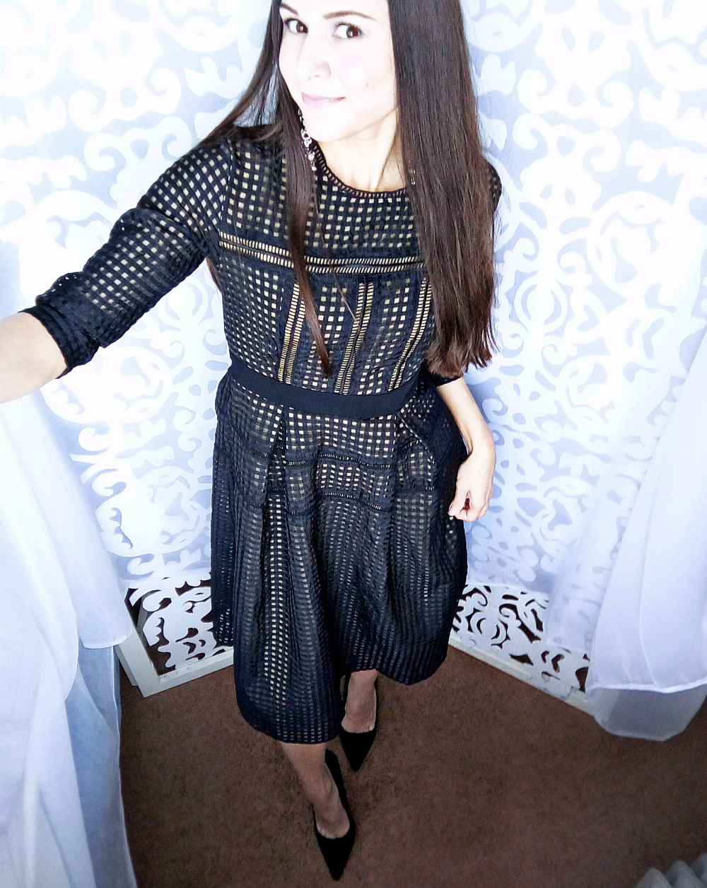 Черное платье с имитацией геометрического кружева с Алиэкспресс