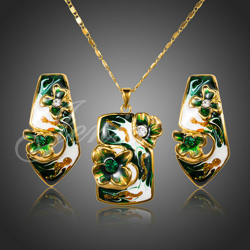 Jenia Gold Color Cheongsam Flower Oil Painting Pattern Stud Earrings and Necklace Jewelry Set for Women XS077