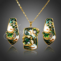 Real Gold Plated Cheongsam Flower Oil Painting Pattern Stud Earrings and Necklace Jewelry Set XS077