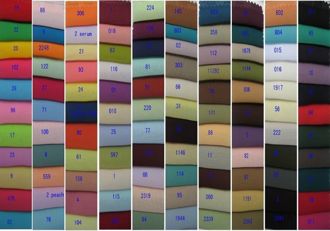 Chiffon material color Chart