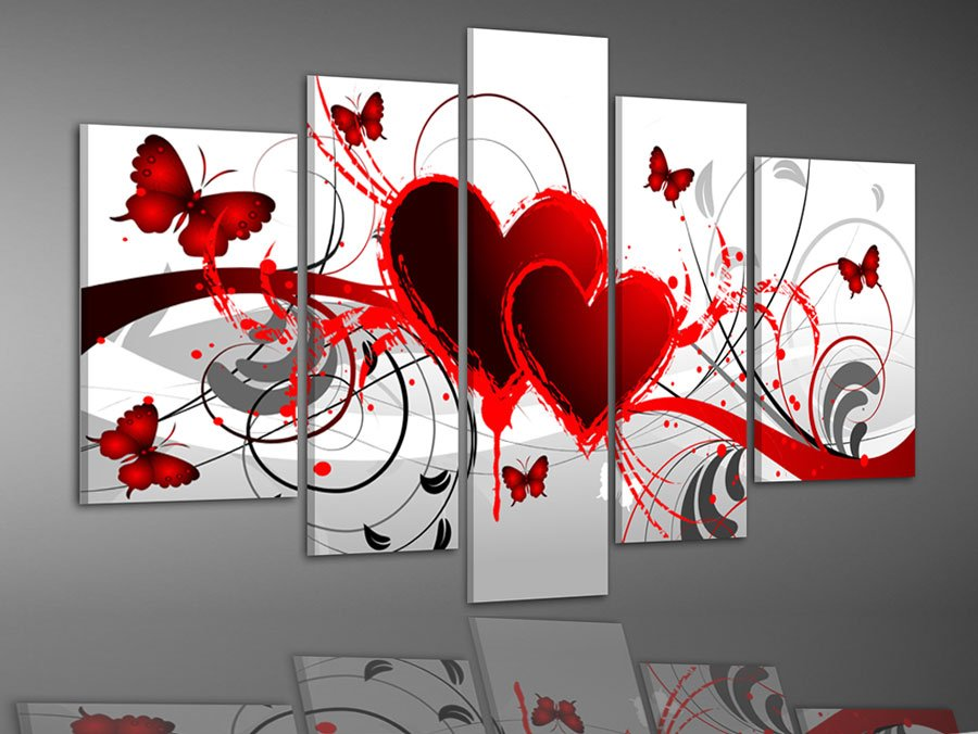High Quality Hand Painted Oil Wall Art Red Flower Love Butterfly Home Decoration  Abstract Landscape Oil Painting On Canvas 5pcs/set Mixorde Gallery