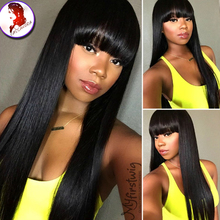 180 Density Brazilian Virgin Hair Lace Front Wig With Full Bangs Silky Straight Grade 8A Front Lace Human Hair Wig Black Women