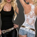 Without Belt! 1 pcs FancyQube Sexy Women Lady Summer Lace Vest Top Sleeveless Shirt 1525 Black Casual Tank Tops T-Shirt