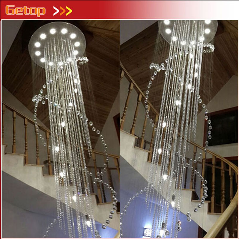 ZX Luxury Double Staircase K9 Crystal Chandelier GU10 LED Lighting for Hotel Lobby Living Room Hall Staircase Lamp Free Shipping free shipping d450mm luxury k9 crystal chandelier lamp k9 golden crystal hotel hall light led crystal pendant 100