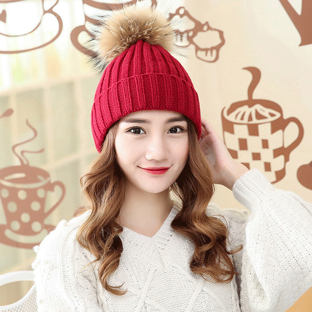 920235578f1 Pom Pom Hats 2017 Funny Winter Hats Autumn Fashion Women Wool Knitted Beanies  Caps Raccoon Fur