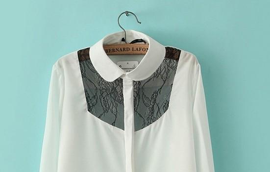 новый весна шифон кружева ажурная строчка питер пэн рубашки женщины с длинными рукавами блузки большой размер c140217-3