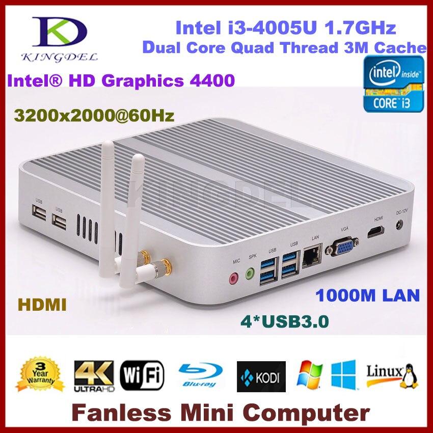 Envío gratis sin ventilador i3 PC Industrial Intel i3 4005U 4010U Barebone Mini