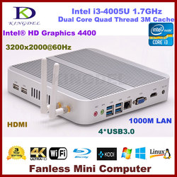 Free shipping Fanless i3 Industrial PC Intel i3 4005U 4010U Barebone Mini Computer 2*COM optional, USB3.0 1080P 3Y Warranty