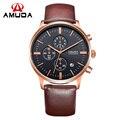 AMUDA Relógio Preto Pulseira de Couro Genuíno Dos Homens de Negócios de Ouro Relógio De Quartzo De Luxo Relógio Do Esporte Dos Homens Relógios relogio masculino