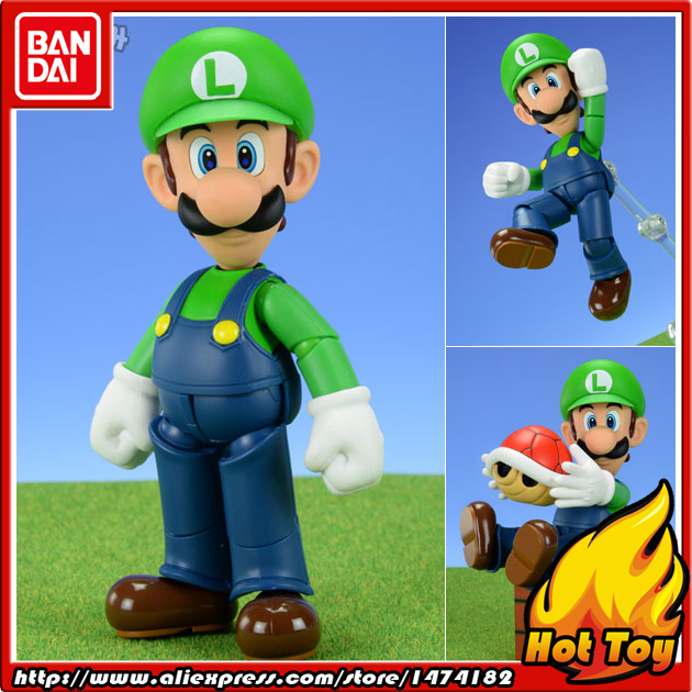 100% Original BANDAI Tamashii Nations S.H.Figuarts (SHF) Action Figure - Luigi from  Super Mario cmt cmt datong super mario shf action figure toy sh figuarts mario model with accessories set action figure