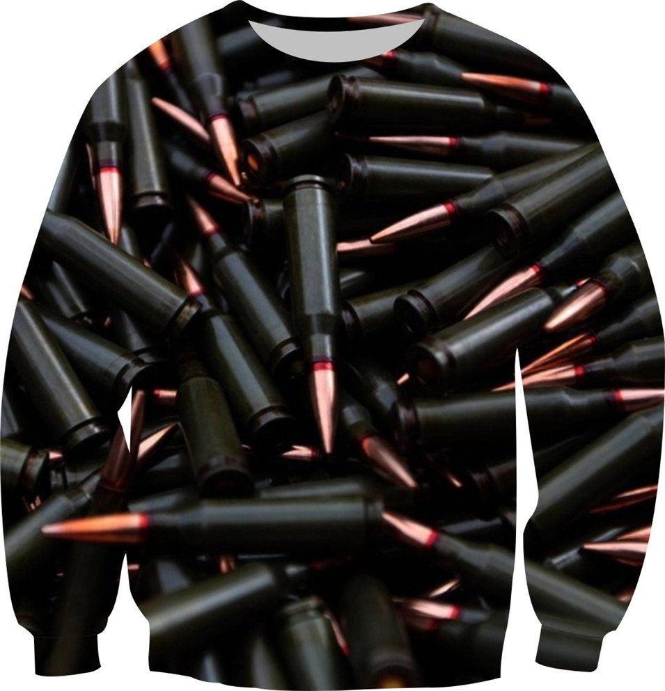 2018 Autumn New Punk Sweatshirt Women Men Fleece Warm Hoodies Print Black And Gold Color The bullet Design Crewneck Tops XS-6XL