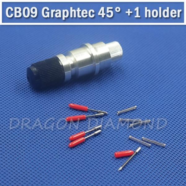 Vinyl Sticker Cut 5pcs CB09 Graphtec plotter Blade knife 45 degree +1pcs Graphtec plotter blade holder for vinyl plotter cutter