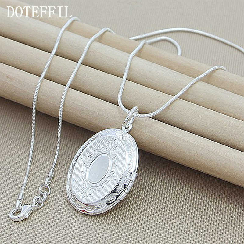 2019 Christmas Gift Pattern Photo Frame Necklace Snake Chain 925 Silver Color Necklace Pendant For Women Men Chain Jewel