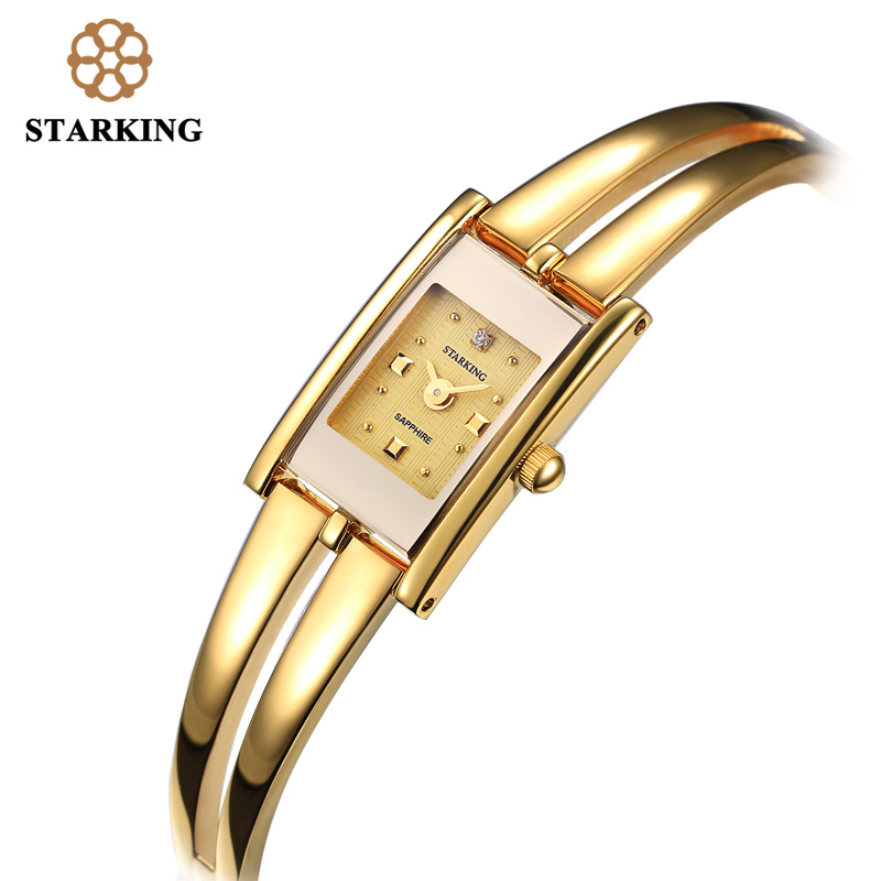 STARKING Luxury Brand Fashion Women Quartz Watch Gold Bracelet Watch Retro Luxury Design Rectangle Simple Wrist Watches BL0258 stylish golden hollow rounded rectangle hasp bracelet for women