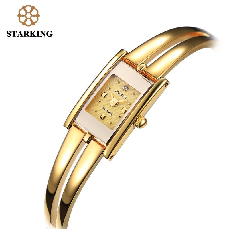 ФОТО STARKING Luxury Brand Fashion Women Quartz Watch Gold Bracelet Watch Retro Swiss Design Rectangle Simple Wrist Watches  BL0258