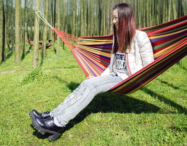Marvelous LEMOCHIC Summer Portable Outdoor Picnic Garden Hammock Hang Travel Camping  Swing Canvas Stripe Mat Sleeping Bed