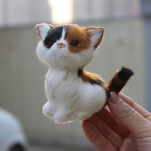 9CM Long Factory Wholesale Synthetic Fur Covered Plastic Mini Cat Figure