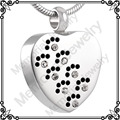 MJD8383 Pet Memorial Jewelry Crystal Paw Print Silver Tone Urn Pendant, Stainless Steel Secret Cremation Ashes Necklace