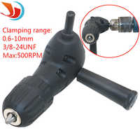 Black 90 degrees right angle bend extension Electric Drill Head Adapter 0.6-10mm 3 / 8-24UNF Round Shank Drill Chuck Tools