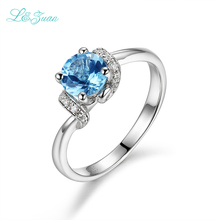 I&Zuan Classic 925 Sterling Silver Rings for Women Natural Swiss Blue Topaz Diamond Jewelry Ring Wedding Engagement Accessoreis