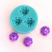 Tiny Small Size 3D Rose Flowers Fondant Cake Cookie Chocolate Soap Mold Cutter Modelling Tools Random Color 4.8*4.8cm