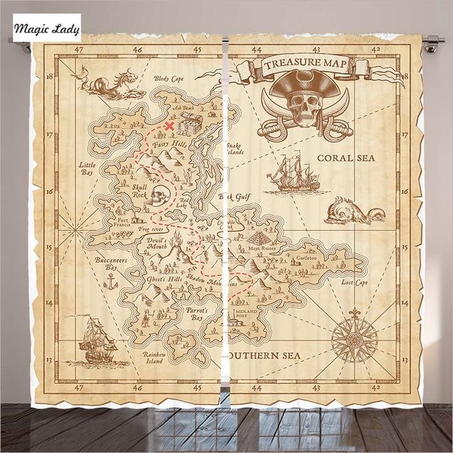 beige gordijnen woonkamer slaapkamer oude oude antieke schatkaart adventure zeilen piraat bruin 2 panelen set 145