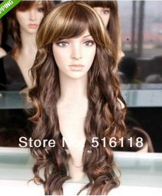 Hot Sell Long Heat Resistant wigs brunette