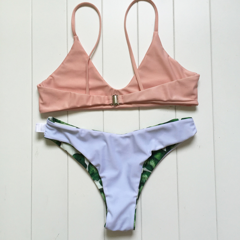 Vertvie Sexy Bikini Set Halter Flesh Pink Strap Push Up Swimwear Green Leaf Pattern Bottom Swimsuit Women 2017 New Summer Beach 1