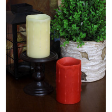 DFL Flameless Real Wax Dripping Pillar Electronic Candle with Timer for Home Party Wedding Decoration,3×5 inches
