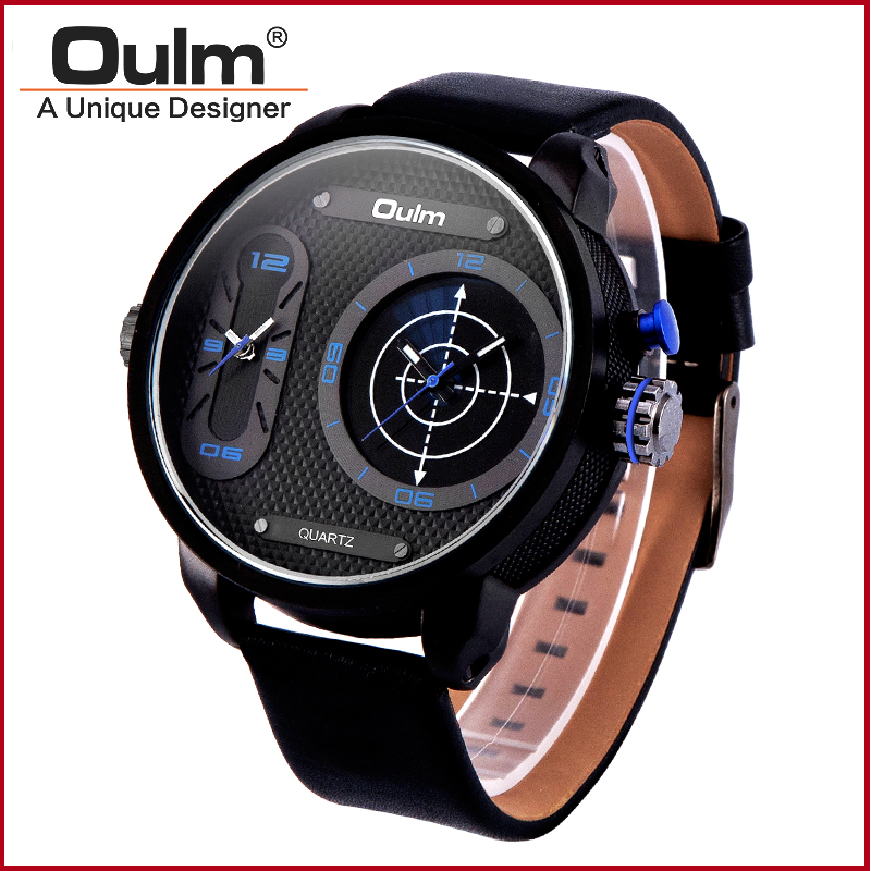 Quartz Sport Wrist Watch Oulm Brand Watch Dual Time Zone Alloy Case with Leather Belt For