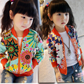 Kids Jackets For Girls Sunflowers Print Girls Coats Cotton Kids Clothes Long Sleeve Children Outerwear Causal Child Clothing