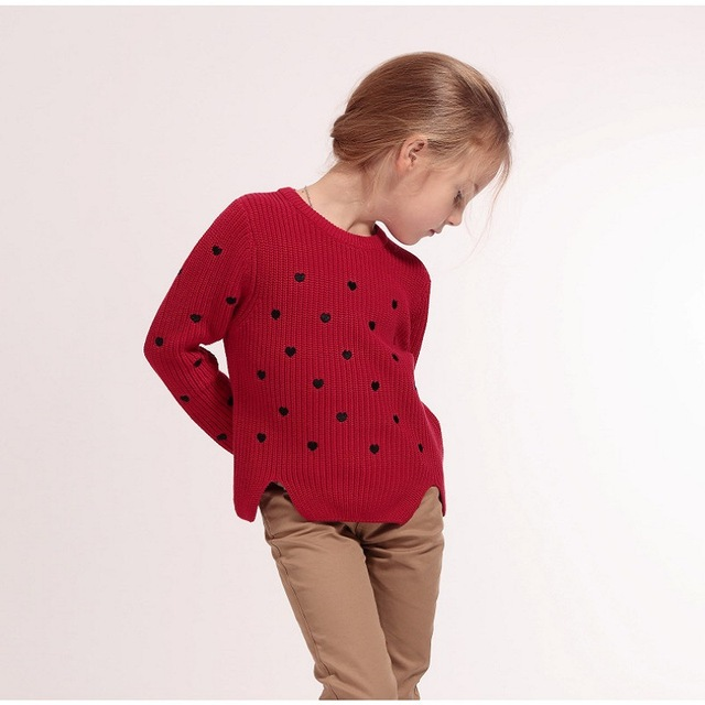 Spring&Autumn girls sweaters warm kids sweaters 3 colors girls clothes long sleeve girls knitwear children pullover for 4-14yrs