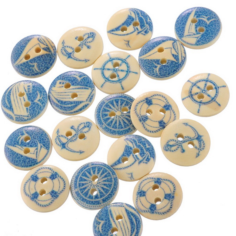 50PCs Wholesale Natural Wooden Round Buttons Blue Nautical Design Scrapbooking Sewing Accessories DIY Craft 2 Holes 15mm Dia.