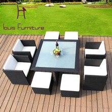 Луи мода сад наборы PE ротанга Творческий открытый досуг ткачество ротанга стул подушка