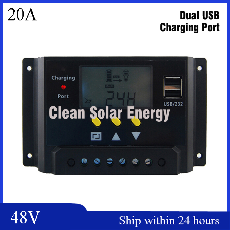 Smart 48V 20A Solar System Charger Controller,PWM Solar Regulator with LCD Display for Solar Street Light 48V Solar Controller 20a 12 24v solar regulator with remote meter for duo battery charging