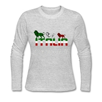2016 Fashion Brand Clothing Italy Animal Womens T Shits Personality Tee Long Sleeve Cotton Womens T