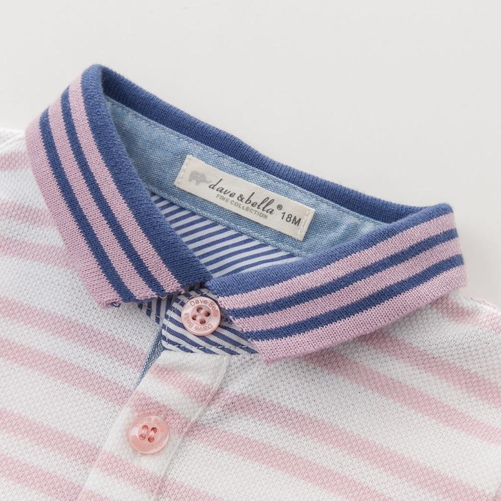 DB3780 dave bella yaz erkek bebek 100 pamuk t gömlek bebek giysileri - Çocuk Giyim - Fotoğraf 3