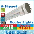 v shaped led tubes lights 4ft 5ft 6ft 8ft t8 g13 double lines led light tubes for cooler lighting AC 85-265V UL DLC