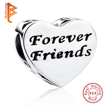 Top Quality 925 Sterling Silver Best Friend Forever Friendship Heart Charms Fit Original BW Bracelet Pendant DIY Jewelry