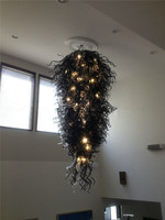 Hand Blown Glass Black Chihuly Chandeliers Modern Crystal LED Chandeliers for Hotel Lobby Decor