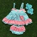 2016 boutique niñas juegos de ropa infantil ropa de bebé oscilación superior establece azul Azect swing top trajes con diadema