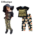2016 New Summer style letter floral sunflower printed Toddler baby girl clothes set outfit 2 pieces set for 9M-4T