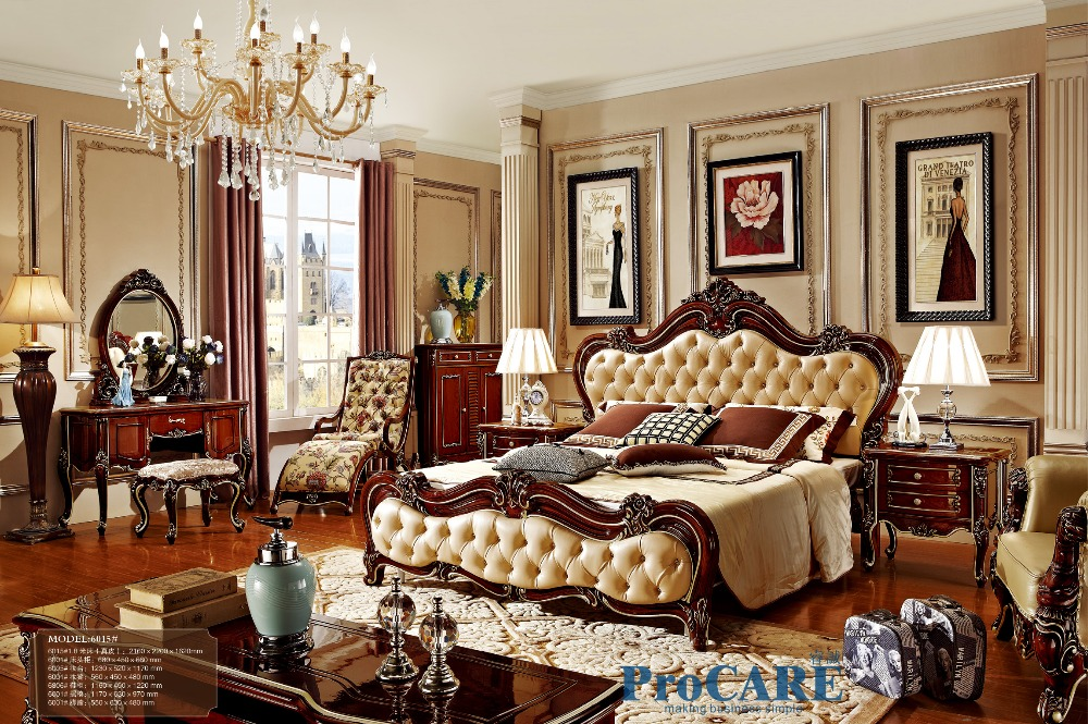 Russian Style Red Solid Wood Bedroom Furniture Set With Real Leather Bed,  Dresser,nightstand,shoes Cabinet,rocking Chair 6015